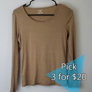 Jones New York Sport : Camel Tan LS Top